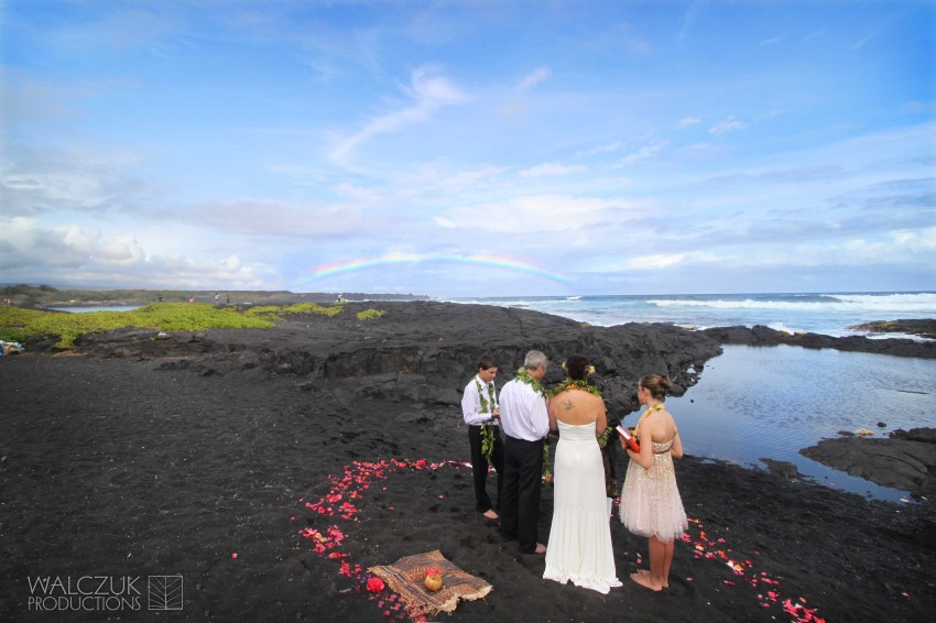 Janet And Keith Wedding In Volcano Punalu U Black Sand Beach Walczuk Productions